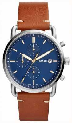 Fossil Męski podróbka do zegarka z niebieskim skórzanym paskiem chronografu FS5401