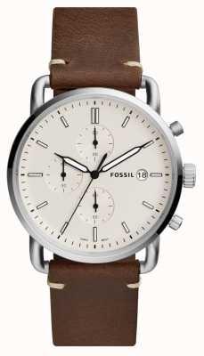 Fossil Męski zegarek do zegarka z białym skórzanym paskiem chronografu FS5402