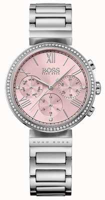 Hugo Boss Różowa bransoletka ze stali nierdzewnej z zestawem kryształów 1502401