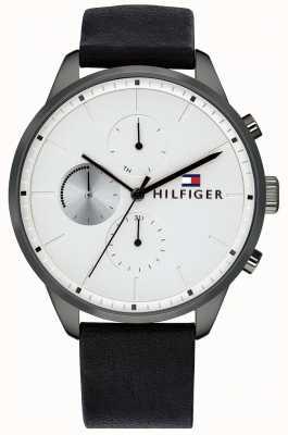Tommy Hilfiger Męski zegarek chronograf czarny skórzany pasek chronograf czarny 1791489