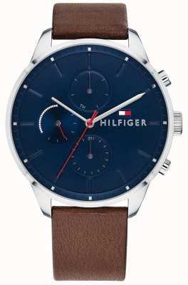 Tommy Hilfiger Męska skórzana chronograf z brązową bransoletą z niebieską tarczą 1791487
