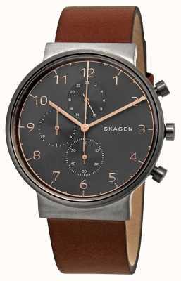 Skagen Mens ancher Chronograph czarna tarcza w brązowym skórzanym paskiem SKW6418