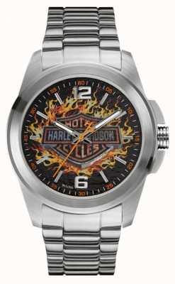 Harley Davidson Płonące logo z tarczą i bransoletką ze stali nierdzewnej 76A147
