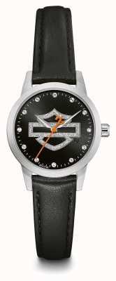 Harley Davidson Zestaw kryształów dla kobiet czarny logo Wybierz czarny skórzany pasek 76L181