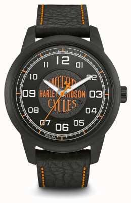 Harley Davidson Nadruk z logo czarny pokrowiec z platyną pokrytą czarnym skórzanym paskiem 78A116