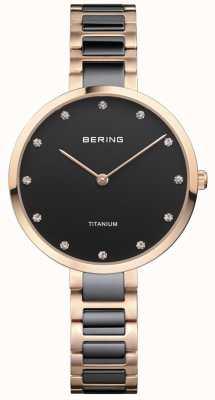 Bering Różowe złoto i czarny tytanowy zestaw kryształów 11334-762