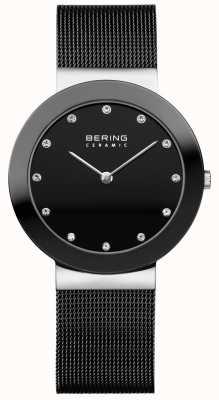 Bering Kryształowa tarcza ceramiczna z czarną siatkową bransoletką 11435-102