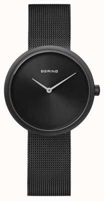 Bering Klasyczny matowy czarny pasek z czarnej siatki 14333-222
