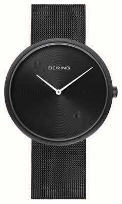 Bering Klasyczny czarny pasek z czarną siatkową tarczą 14339-222