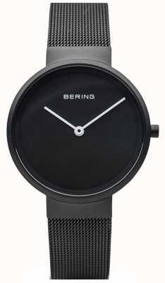 Bering Klasyczna czarna matowa bransoletka z czarnej siatki powlekanej IP 14531-122