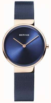 Bering Klasyczna damska niebieska tarcza w kolorze różowego złota 14531-367