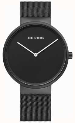 Bering Klasyczna czarna męska bransoletka z czarnej siatki ip 14539-122
