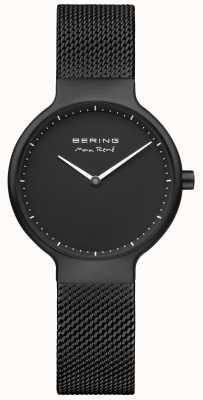 Bering Max rené czarny, matowy cyferblat i czarny pasek z plisowanej siatki 15531-123