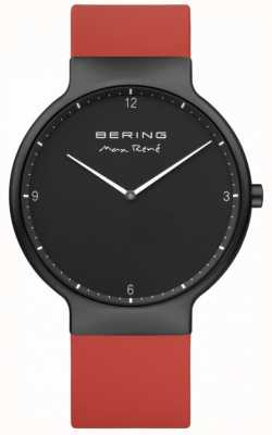 Bering Czarny, czarny pasek z czerwoną silikonową gumką 15540-523