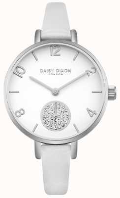 Daisy Dixon Damski kryształowy pasek w kształcie subdialu z białej skóry DD075WS