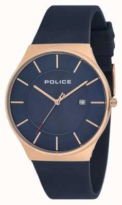 Police Męski nowy zegarek w horyzont z silikonowym paskiem w kolorze niebieskim 15045JBCR/03P