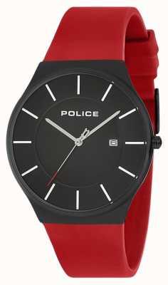Police Męski nowy zegarek w horyzont z silikonowym paskiem w kolorze czerwonym 15045JBCB/02PB