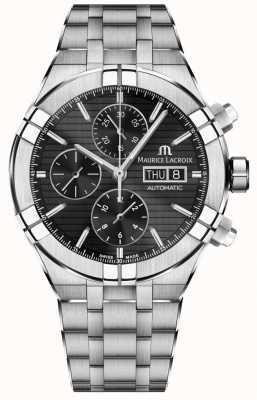 Maurice Lacroix Aikon automatyczny zegarek ze stali nierdzewnej chronograf czarny AI6038-SS002-330-1