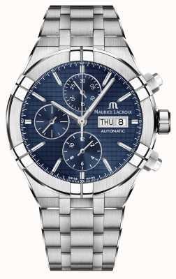 Maurice Lacroix Aikon automatyczny zegarek ze stali nierdzewnej z niebieską tarczą chronograf AI6038-SS002-430-1