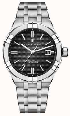 Maurice Lacroix Aikon automatyczny czarny zegarek ze stali nierdzewnej AI6008-SS002-330-1