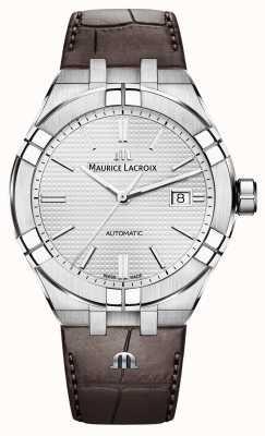 Maurice Lacroix Aikon automatyczny zegarek z brązowej skóry AI6008-SS001-130-1