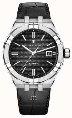 Maurice Lacroix Aikon automatyczny czarny skórzany zegarek z czarną tarczą AI6008-SS001-330-1