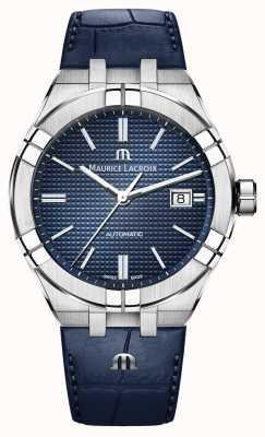Maurice Lacroix Aikon automatyczny niebieski skórzany zegarek z niebieską tarczą AI6008-SS001-430-1
