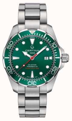 Certina Ds powermatic zielona tarcza / bezel ze stali nierdzewnej zegarek C0324071109100
