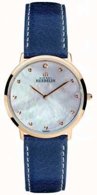 Michel Herbelin Damski niebieski pasek skórzany pasek z masy perłowej ikone 16915/PR59BL
