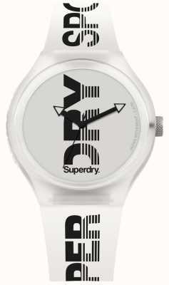 Superdry Miejski sport biały pasek silikonowy Xl SYG189W