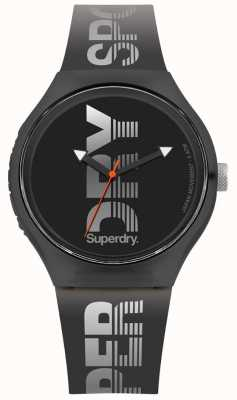 Superdry Miejski sport w kolorze czarnym z czarnego silikonu SYG189B