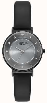 Kenneth Cole Zegarek damski klasyczny szary czarny skórzany pasek KC50075001
