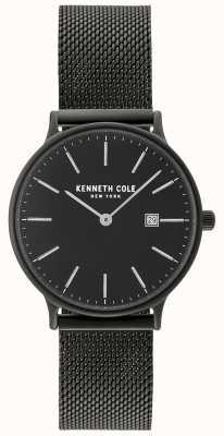 Kenneth Cole Damska czarna koperta i tarcza z datownikiem i czarną siatką KC15057004