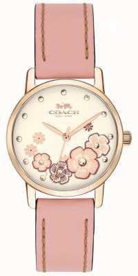 Coach Womans wielki różowy skórzany pasek kremowy kwiatowy tarcza 14503060
