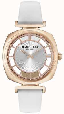 Kenneth Cole Damska złota koperta na białym skórzanym pasku KC15108003