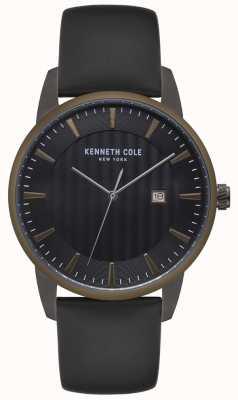 Kenneth Cole Mężczyzna ze stali nierdzewnej koperta czarny skórzany zegarek z czarnej skóry KC15204005