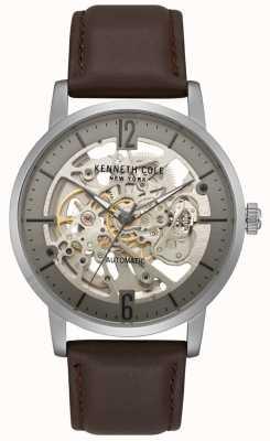 Kenneth Cole Męski szkielet zegarka z brązowym skórzanym paskiem KC50054001