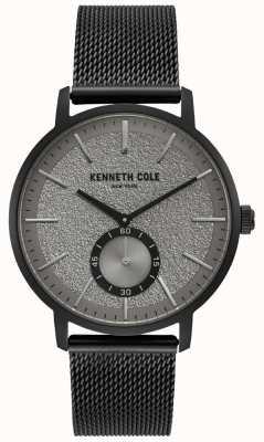 Kenneth Cole Męskie czarne etui szare subdialne zegarki z czarną siatkową bransoletką KC50055001