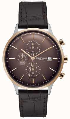 Kenneth Cole Męski czerwony zegarek chronograf na brązowym pasku ze skóry krokodyla KC15181005
