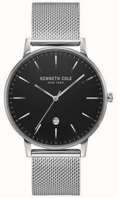 Kenneth Cole Klasyczny czarno-srebrny zegarek ze stali nierdzewnej KC50009004