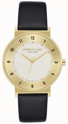 Kenneth Cole Czarny skórzany zegarek z futerałem w kolorze złotym KC50074002