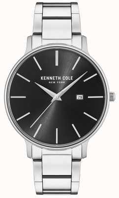 Kenneth Cole Czarny zegarek ze stali nierdzewnej z wyświetlaczem daty KC15059002