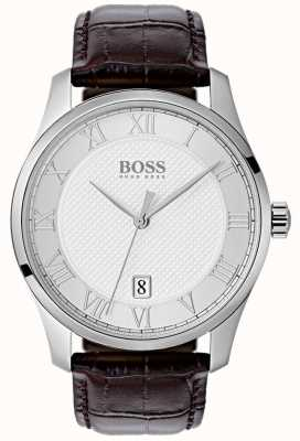 Hugo Boss Zegarek męski srebrny zegarek skórzany niebieski dial 1513586