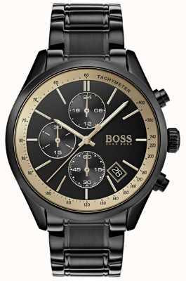 Hugo Boss Mens Grand Prix czarny ip / złoty zegarek akcent 1513578