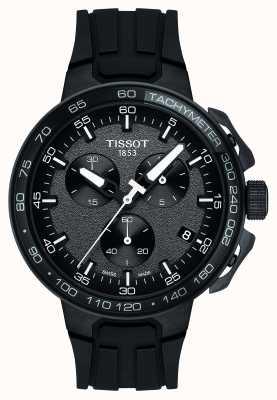 Tissot Męski t-race chronograf czarny silikonowy pasek na kółkach T1114173744103