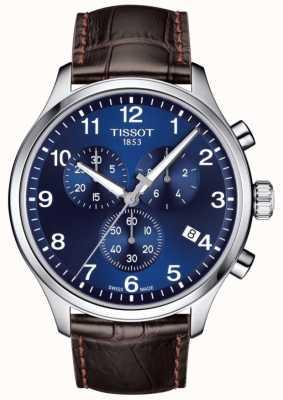 Tissot Męski t-sport xl chronograf niebieska tarcza brązowy skórzany pasek T1166171604700