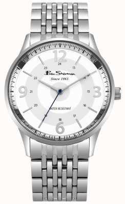 Ben Sherman Zegarek męski biały zegarek bransoleta ze stali nierdzewnej BS001SM
