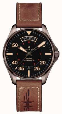 Hamilton Khaki dzień pilotażowy data auto czarna tarcza brązowa skóra H64605531