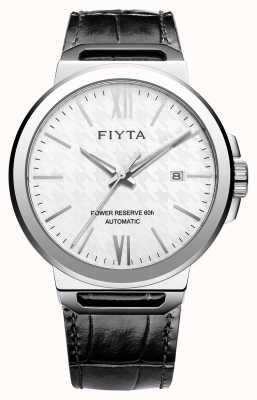 FIYTA Solo automatyczny czarny skórzany biały sapphire wybierania GA852000.WWB