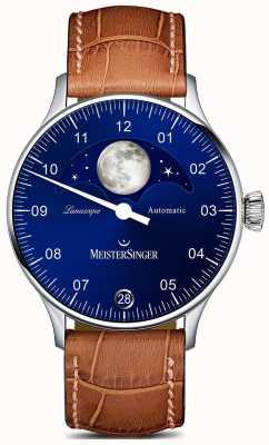 MeisterSinger Pangea lunascope brązowy pasek niebieska tarcza LS908